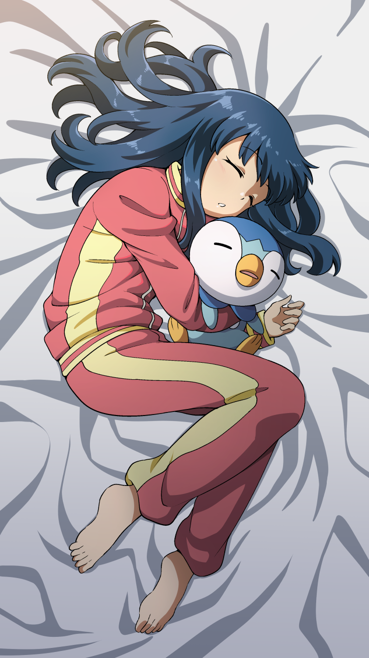 1girl bangs barefoot bed_sheet closed_eyes commentary dawn_(pokemon) eyebrows_visible_through_hair eyelashes gen_4_pokemon highres holding holding_pokemon long_hair long_sleeves lying on_side pajamas pants parted_lips piplup pokemon pokemon_(anime) pokemon_(creature) pokemon_dppt_(anime) sleeping suitenan toes