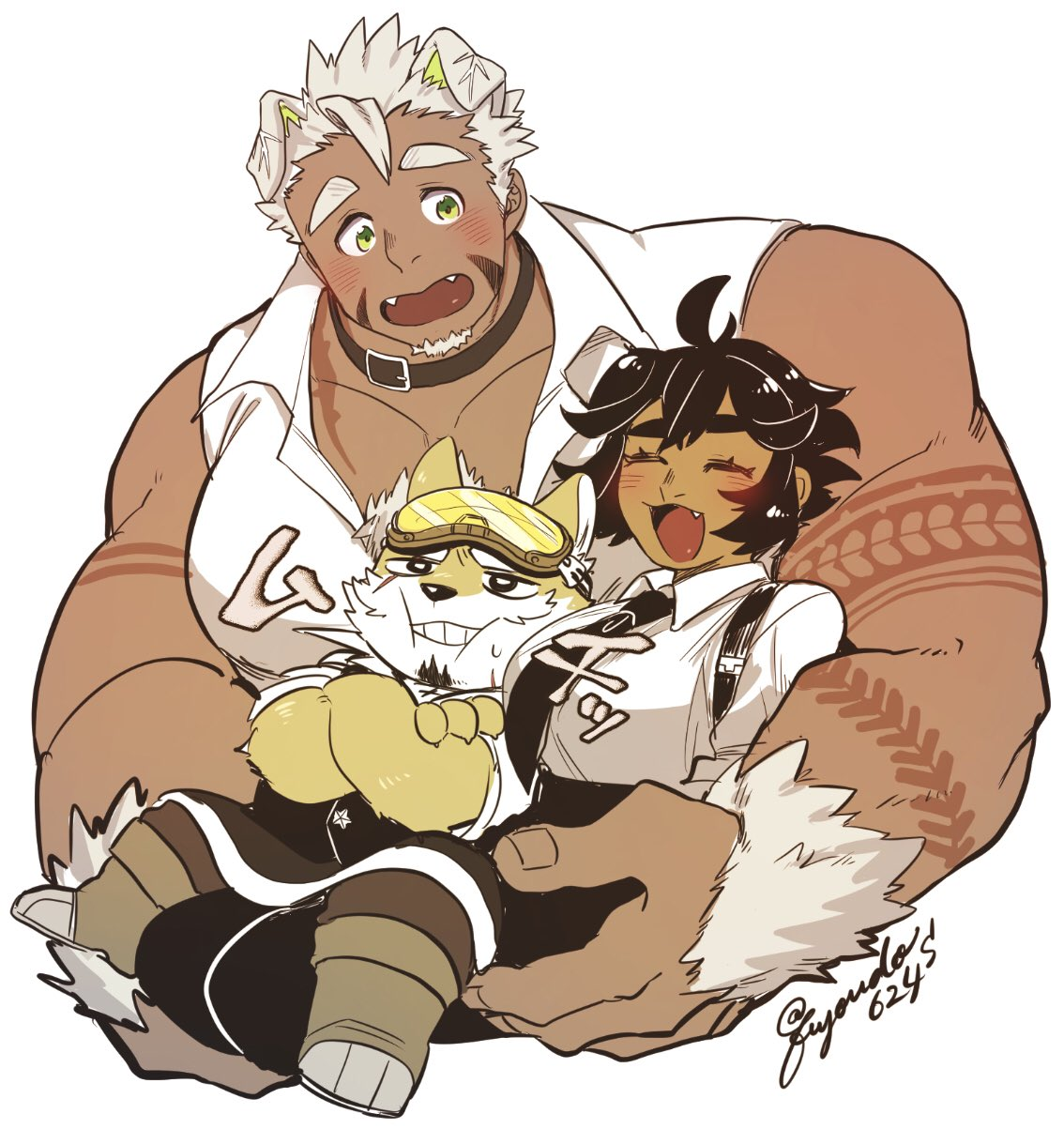 1girl 2boys animal_ears bare_shoulders between_breasts black_hair blush breasts butler character_request cheek_bulge chest chest_hair cropped_torso dog_boy dog_ears facial_hair fuyodo giant_male goatee gomeisa_(live_a_hero) green_eyes grey_hair head_between_breasts head_between_pecs head_on_chest highres live_a_hero male_focus multiple_boys muscle necktie short_hair sideburns sleeveless tattoo tribal_tattoo upper_body