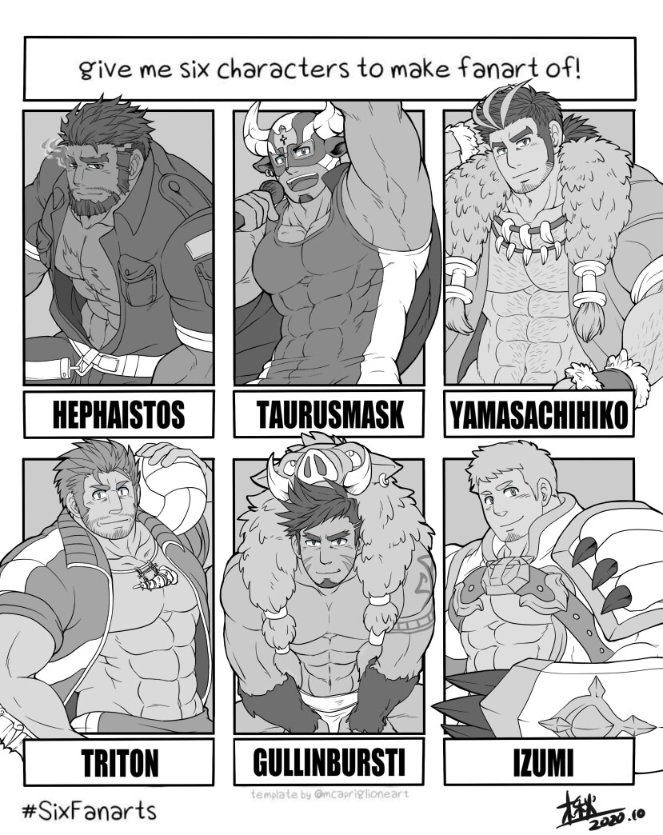 6+boys abs bara bare_chest black_hair blush body_hair character_name chest chest_hair covered_abs crossed_arms english_text facial_hair greyscale gullinbursti_(tokyo_houkago_summoners) hairy hephaestus_(tokyo_houkago_summoners) izumi_(gyee) male_focus manly medium_hair monochrome multicolored_hair multiple_boys muscle nipples shirtless sideburns six_fanarts_challenge smile streaked_hair stubble sunfight0201 sweatdrop taurus_mask tied_hair tokyo_houkago_summoners triton_(tokyo_houkago_summoners) two-tone_hair upper_body volleyball yamasachihiko_(tokyo_houkago_summoners)