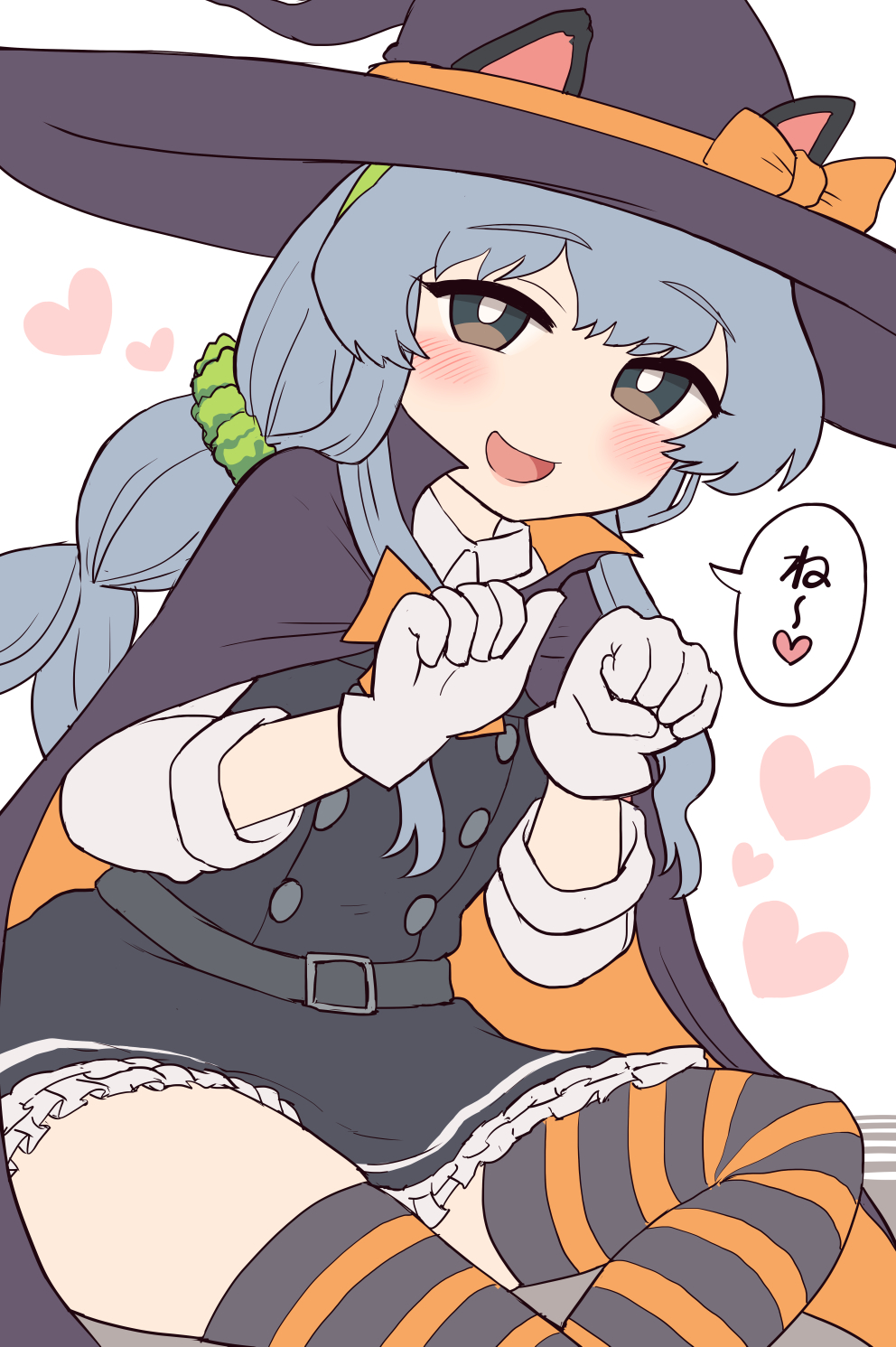 1girl animal_ears asashio_(kantai_collection) asashio_(kantai_collection)_(cosplay) bangs black_dress blush braid cape cat_ears cat_tail cosplay dress eyebrows_visible_through_hair frilled_dress frills gloves grey_hair grey_hairband hair_ornament hair_scrunchie hairband halloween halloween_costume hat heart highres kantai_collection long_hair long_sleeves open_mouth paw_pose pinafore_dress scrunchie shirt sidelocks simoyuki simple_background single_braid sitting solo striped striped_legwear tail thigh-highs white_background white_gloves white_shirt witch_hat yamagumo_(kantai_collection)