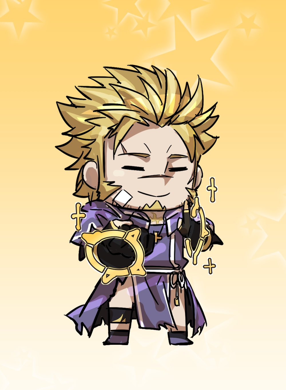 1boy blonde_hair chibi closed_eyes facial_hair fate/grand_order fate_(series) fingerless_gloves full_body gloves goatee gradient gradient_background highres ina_zuma jacob_(tokyo_houkago_summoners) male_focus pelvic_curtain priest riyo_(lyomsnpmp)_(style) short_hair sideburns simple_background solo stubble tokyo_houkago_summoners torn_clothes