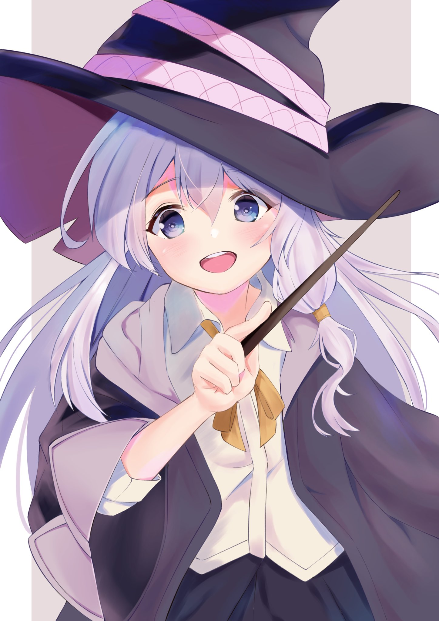 1girl black_robe blue_eyes blush elaina_(majo_no_tabitabi) file112056 hair_tubes hat highres majo_no_tabitabi neck_ribbon open_clothes open_mouth ribbon robe simple_background smile solo upper_teeth wand witch witch_hat yellow_ribbon