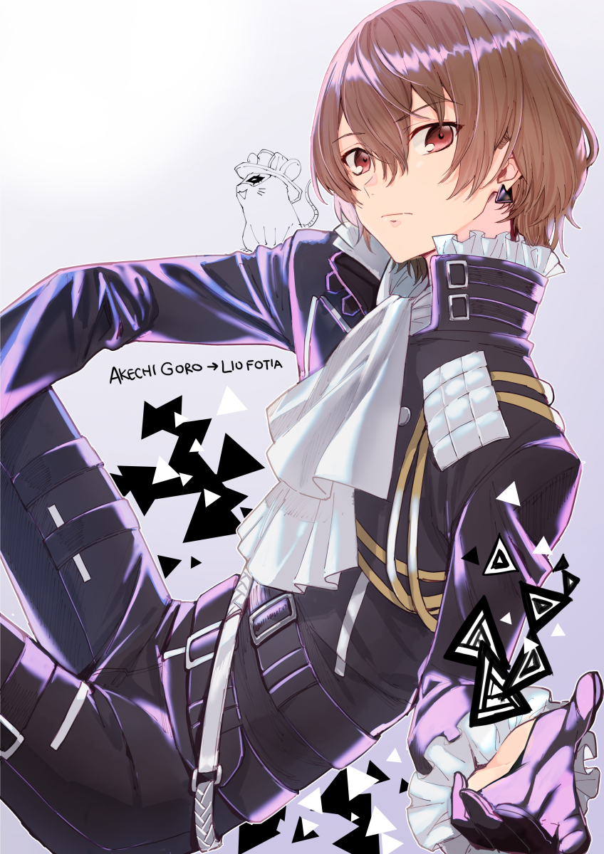 2boys :d akechi_gorou amamiya_ren biker_clothes black_fire black_gloves brown_hair character_name cosplay cravat earrings expressionless eyebrows_visible_through_hair fire frilled_sleeves frills gloves hair_between_eyes half_gloves highres jewelry lio_fotia lio_fotia_(cosplay) long_sleeves mad_burnish male_focus mouse multiple_boys obo open_mouth persona persona_5 popped_collar promare purple_fire red_eyes short_hair smile solo_focus triangle_earrings