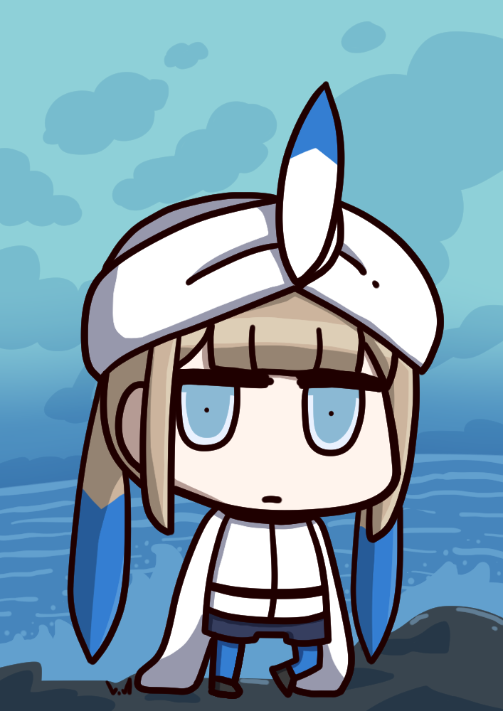 1boy blonde_hair blue_eyes blue_hair captain_nemo_(fate/grand_order) chibi closed_mouth expressionless fate/grand_order fate_(series) gradient_hair l.n long_sleeves looking_at_viewer multicolored_hair riyo_(lyomsnpmp)_(style) sleeves_past_wrists solo turban