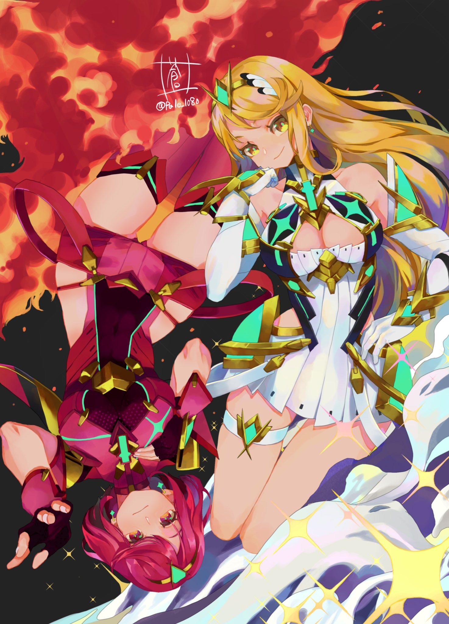 2girls blonde_hair breasts dual_persona earrings fire highres jewelry large_breasts long_hair miniskirt multiple_girls mythra_(xenoblade) pyra_(xenoblade) redhead short_hair shorts skindentation skirt sou_(pale_1080) xenoblade_chronicles_(series) xenoblade_chronicles_2 yellow_eyes