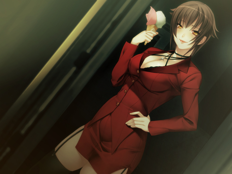 black_hair black_thighhighs breasts brown_hair business_suit carnevale_della_luce_della_luna choker cleavage cross dutch_angle food formal game_cg garter_belt hand_on_hip ice_cream jewelry large_breasts lipstick miniskirt necklace nitroplus oosaki_shin'ya oosaki_shinya rebecca_(carnevale_della_luce_della_luna) short_hair skirt skirt_suit smile solo suit thigh-highs thighhighs yellow_eyes zettai_ryouiki
