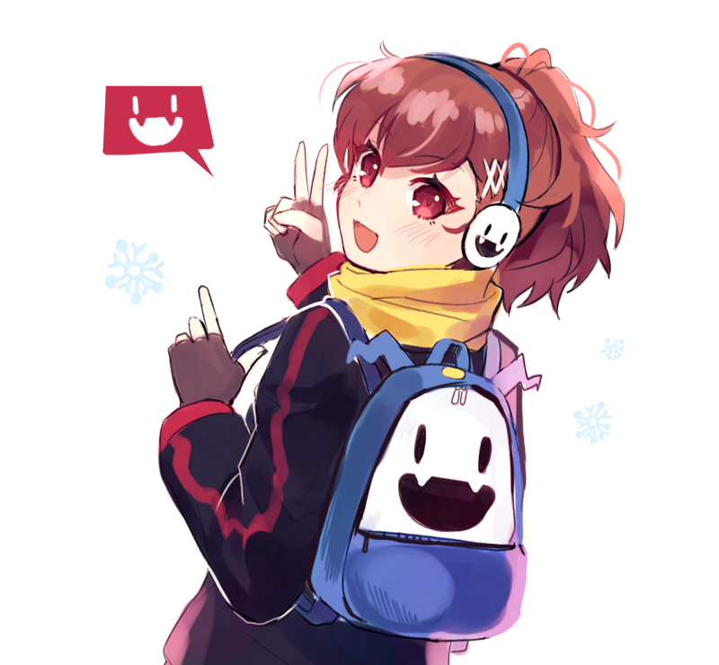 1girl :d alternate_costume backpack bag blush brown_hair byoru earmuffs eyebrows_visible_through_hair fingerless_gloves from_behind gloves jack_frost long_sleeves looking_back open_mouth persona persona_3 persona_3_portable ponytail red_eyes scarf school_uniform shiomi_kotone simple_background smile snowflakes solo v white_background yellow_neckwear