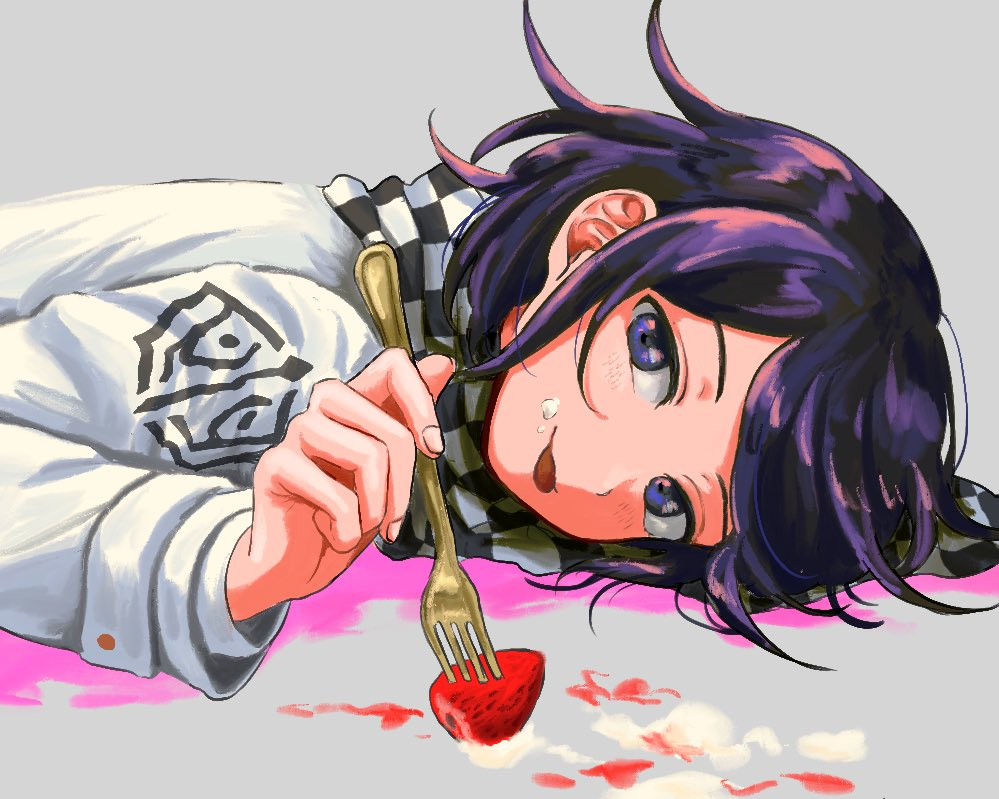 1boy bangs blush checkered checkered_neckwear checkered_scarf danganronpa food food_on_face fork fruit grey_background hair_between_eyes holding holding_fork long_sleeves lying male_focus new_danganronpa_v3 on_stomach ouma_kokichi purple_hair renshu_usodayo scarf simple_background solo straitjacket strawberry tongue tongue_out upper_body violet_eyes whipped_cream