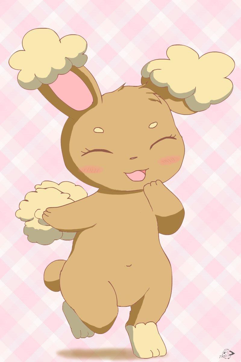 ^_^ animal_ears buneary bunny_tail checkered checkered_background closed_eyes full_body gen_4_pokemon highres navel pichu90 pokemon pokemon_(creature) rabbit_ears solo tail