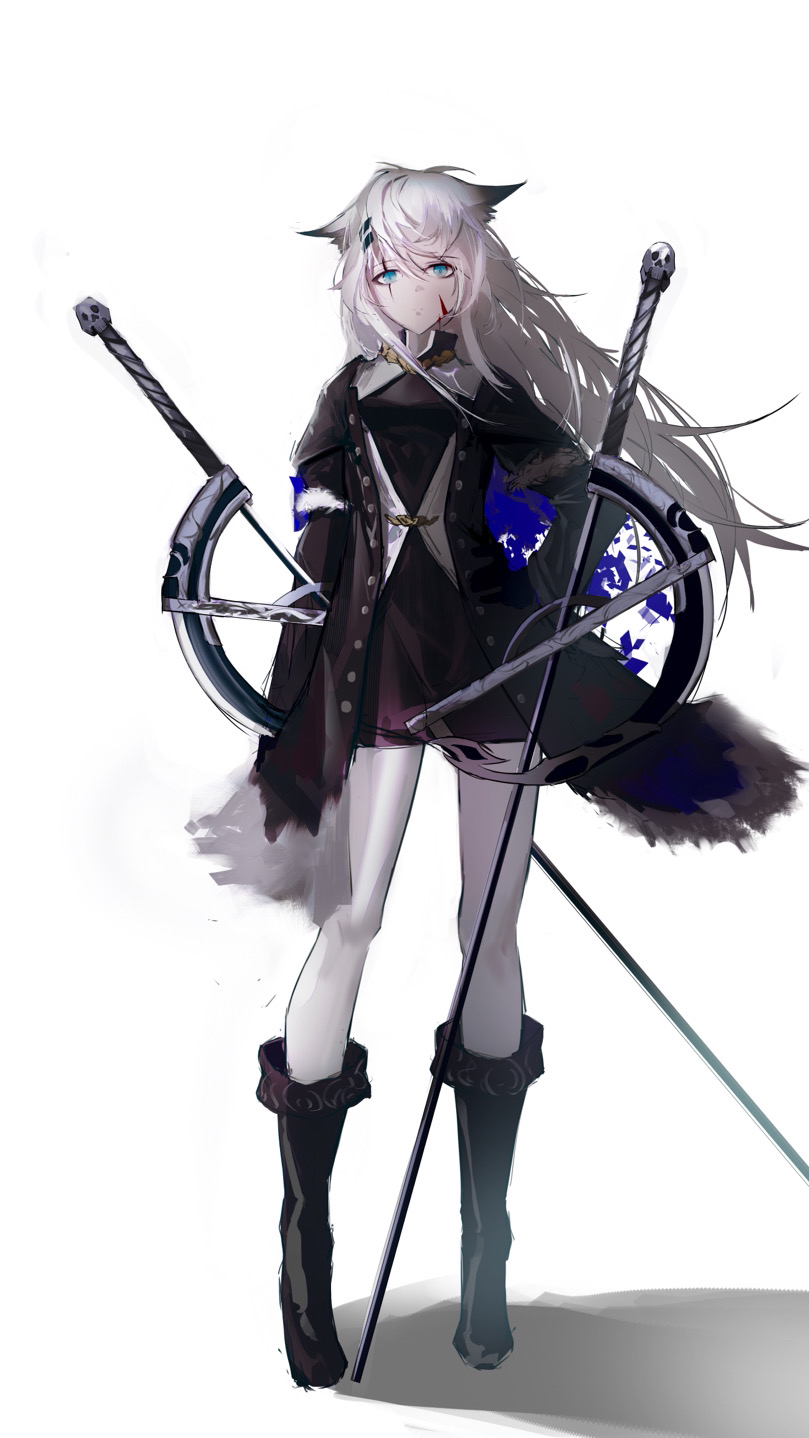 1girl animal_ear_fluff animal_ears arknights bare_legs black_coat black_jacket black_nails black_shorts blood blood_on_face boots coat green_eyes grey_eyes hair_ornament hairclip highres holding holding_sword holding_weapon jacket lappland_(arknights) lappland_(elegant_omen)_(arknights) long_hair mackia planted_sword planted_weapon scar scar_across_eye shorts silver_hair strapless sword tail tubetop weapon wolf_ears wolf_tail