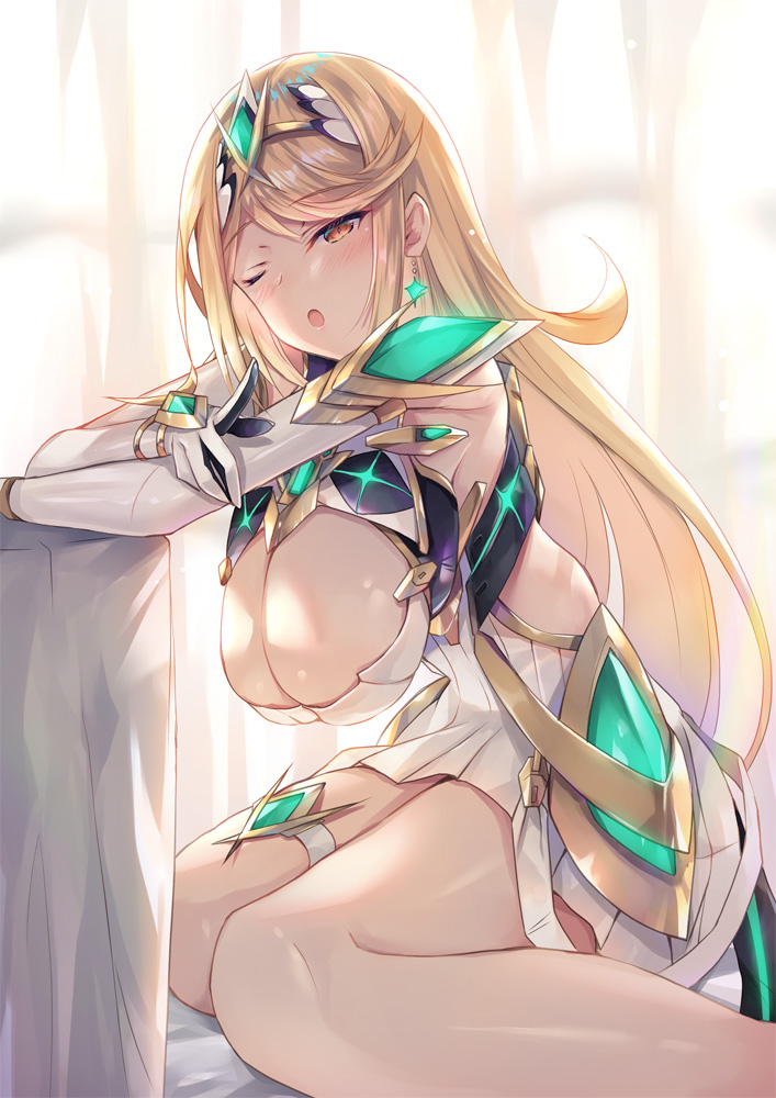 1girl ;o armor backlighting bangs blonde_hair blush breasts chest_jewel cleavage_cutout clothing_cutout dress earrings elbow_gloves gem gloves hanging_breasts headpiece hinot jewelry large_breasts long_hair looking_at_viewer mythra_(xenoblade) one_eye_closed open_mouth short_dress shoulder_armor sitting solo swept_bangs thigh_strap thighs tiara wariza white_dress white_gloves xenoblade_chronicles_(series) xenoblade_chronicles_2 yellow_eyes
