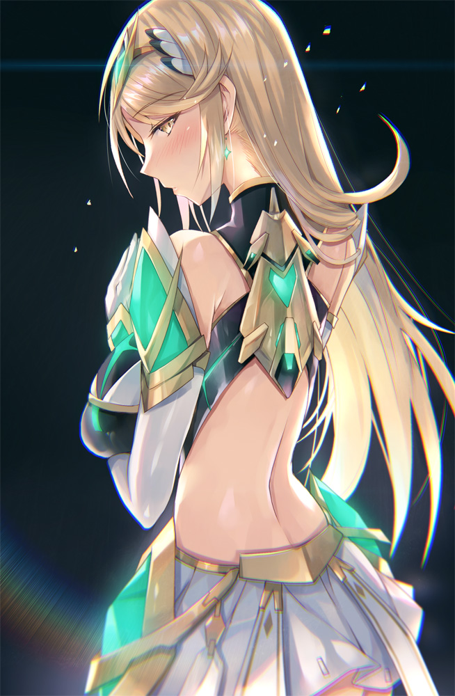 1girl armor ass back bangs bare_shoulders black_background blush breasts dress earrings elbow_gloves gem gloves gradient gradient_background hinot jewelry large_breasts long_hair looking_at_viewer looking_back mythra_(xenoblade) nape short_dress shoulder_armor sidelocks solo swept_bangs tiara white_dress white_gloves xenoblade_chronicles_(series) xenoblade_chronicles_2 yellow_eyes