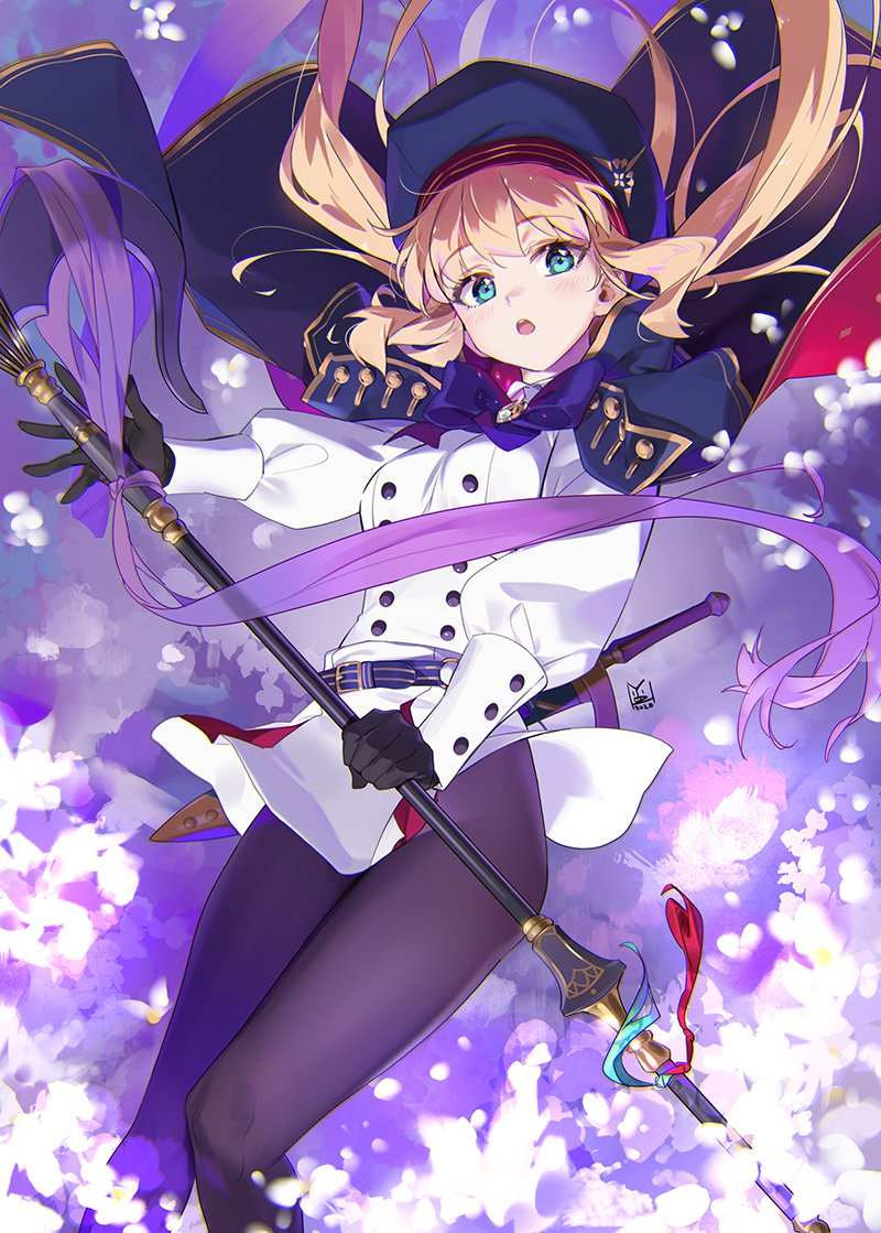 1girl artoria_pendragon_(all) artoria_pendragon_(caster) beret black_legwear blue_headwear blush breasts buttons fate/grand_order fate_(series) flower gloves green_eyes hat holding holding_staff long_hair long_sleeves looking_at_viewer multicolored_capelet open_mouth pantyhose sitting small_breasts staff sword thighs weapon yd_(orange_maru)