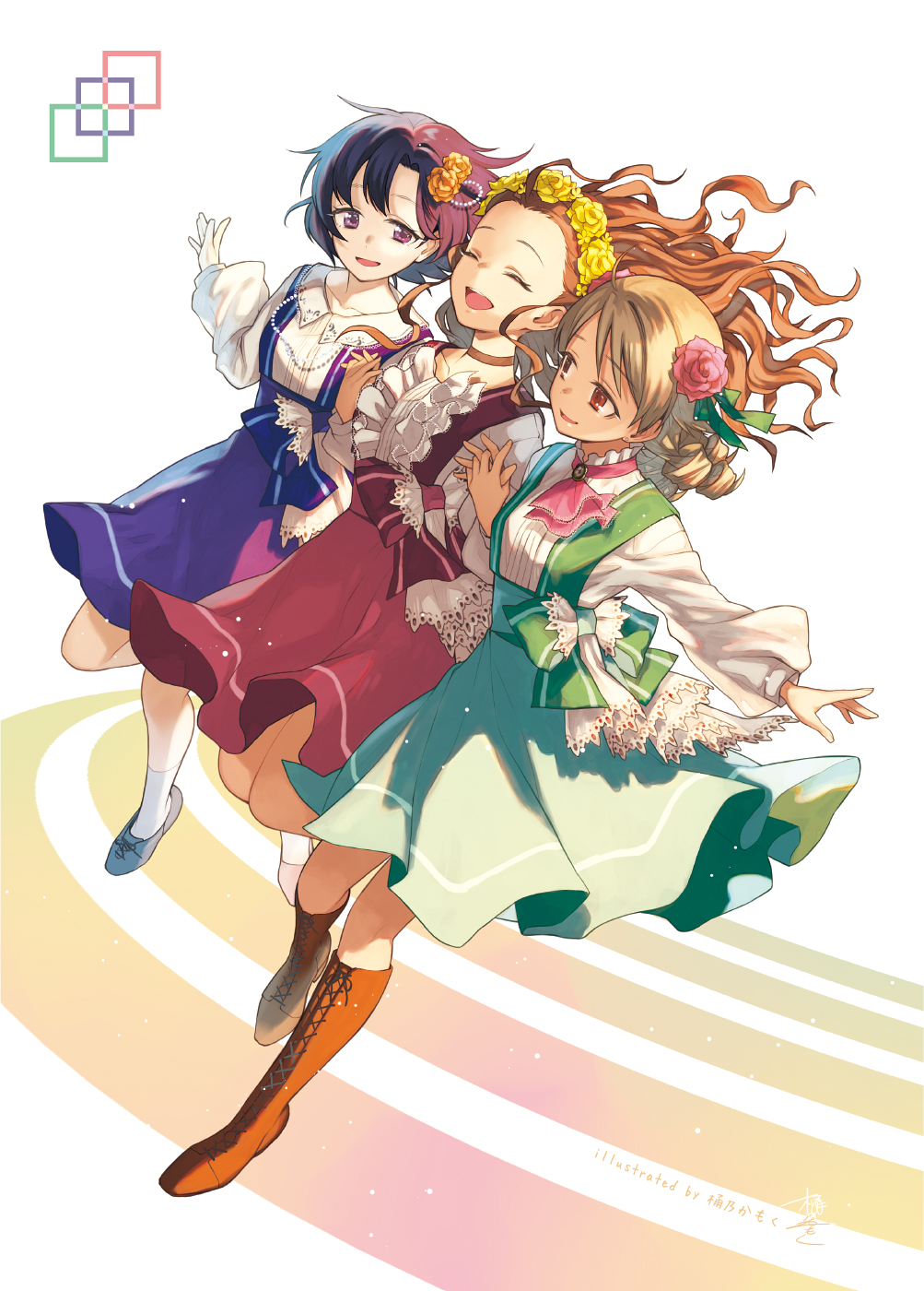 3girls :d black_hair blue_dress blue_footwear boots bow brown_eyes brown_footwear brown_hair closed_eyes cross-laced_footwear dress flower green_bow green_dress hair_flower hair_ornament head_wreath highres idolmaster idolmaster_cinderella_girls idolmaster_cinderella_girls_starlight_stage jumping long_sleeves morikubo_nono multiple_girls okeno_kamoku open_mouth red_dress seki_hiromi shiragiku_hotaru short_hair simple_background smile white_legwear