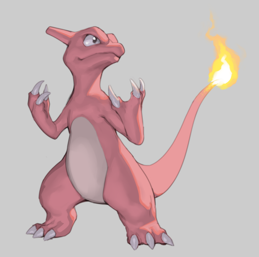 black_eyes charmeleon claws closed_mouth creature fire flame gen_1_pokemon grey_background hakai_shin no_humans pokemon pokemon_(creature) pokemon_(game) simple_background standing