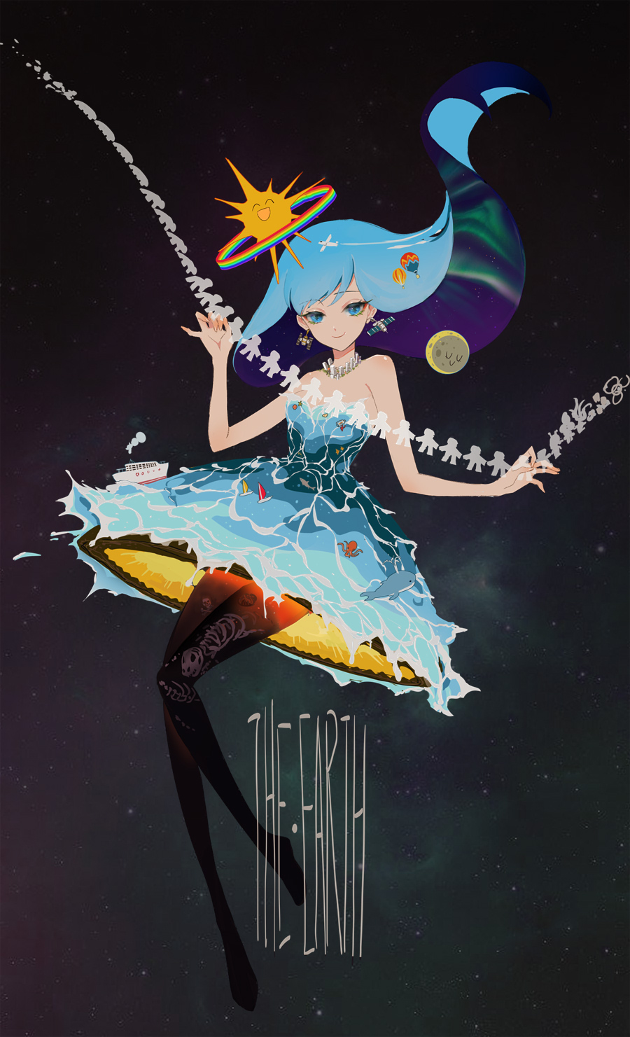 1girl aircraft airplane black_legwear blue_eyes blue_hair bone dress earrings english_text evolution floating_hair highres hot_air_balloon jewelry liusang multicolored multicolored_clothes multicolored_hair octopus original paper_cutout personification rainbow satellite ship smile space sun watercraft whale yacht