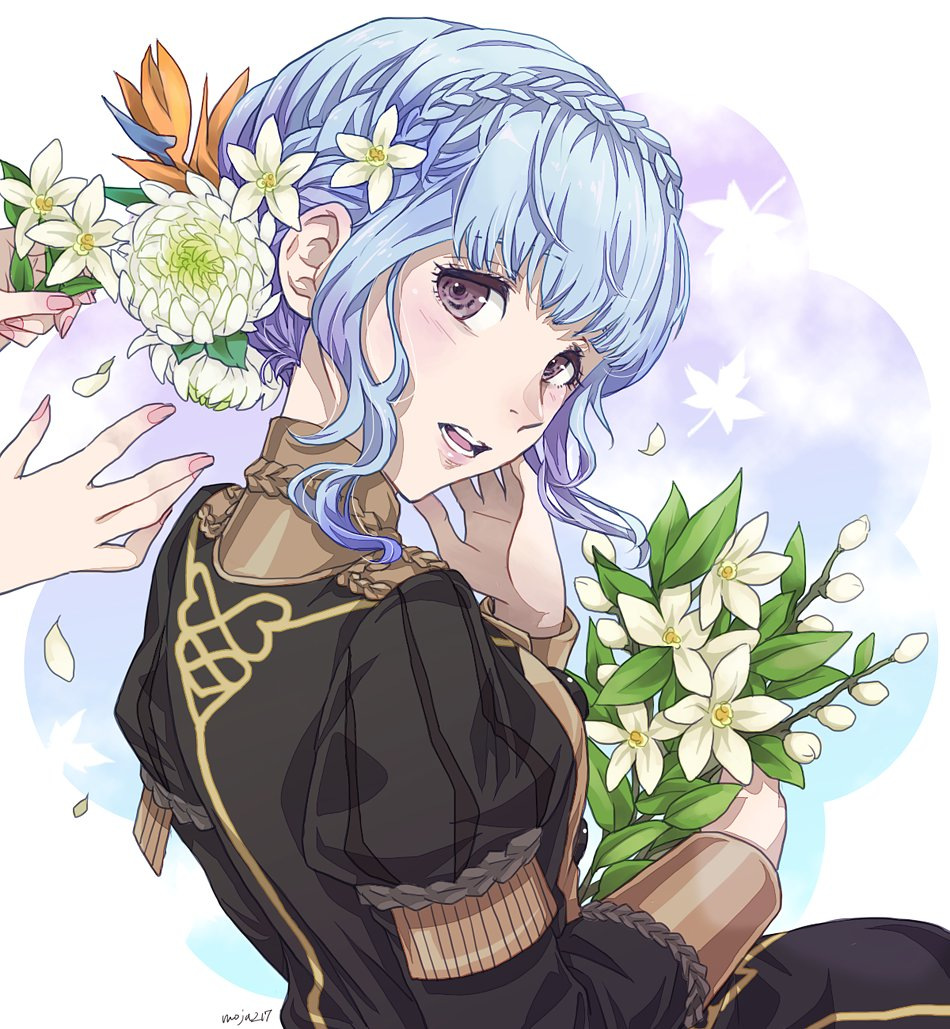 1girl back black_eyes blue_hair blush bouquet braid breasts buttons commentary_request crown_braid epaulettes eyebrows_visible_through_hair fire_emblem fire_emblem:_three_houses flower garreg_mach_monastery_uniform hair_between_eyes hair_flower hair_ornament holding holding_flower long_sleeves looking_at_viewer looking_back marianne_von_edmund mojakkoro nail nail_polish open_mouth orange_flower parted_lips petals pink_nails short_hair short_hair_with_long_locks signature uniform white_flower white_petals