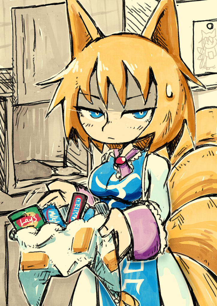 1girl animal_ears blonde_hair blue_eyes breasts candy chips chocolate chocolate_bar commentary dress english_commentary food fox_ears fox_tail hat hat_removed headwear_removed holding holding_clothes holding_hat indoors long_sleeves looking_at_viewer multiple_tails picture_(object) pillow_hat potato_chips setz solo tabard tail touhou upper_body white_dress white_headwear yakumo_ran