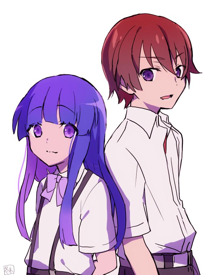 1boy 1girl blue_hair furude_rika higurashi_no_naku_koro_ni hiiragi_fuyuki long_hair maebara_keiichi smile violet_eyes white_background