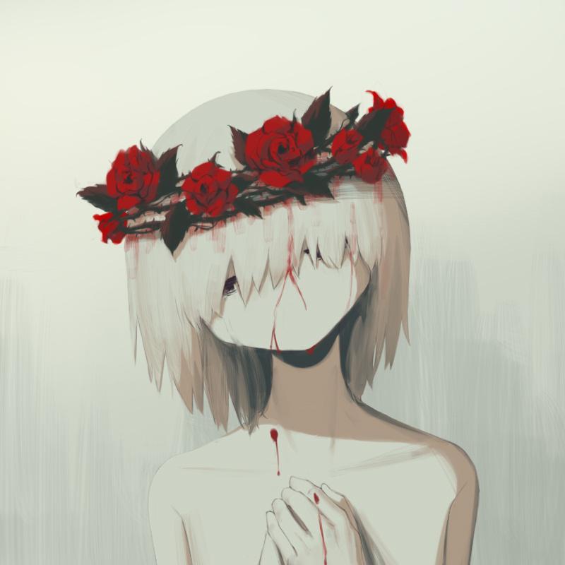 1boy avogado6 bleeding blood crown_of_thorns flower hands_up head_tilt head_wreath male_focus medium_hair nude original red_flower red_rose rose solo tears upper_body white_hair white_skin