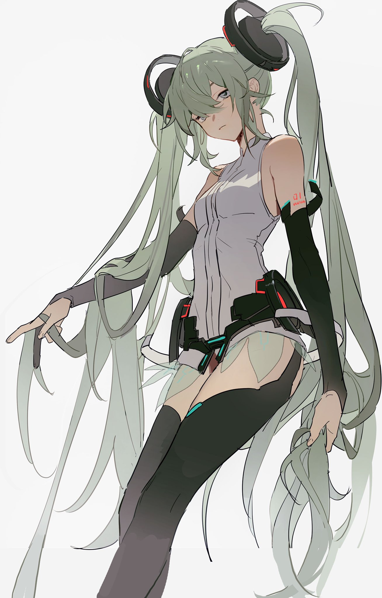 1girl bangs bare_shoulders black_legwear breasts closed_mouth collar detached_sleeves green_hair grey_background grey_eyes hair_between_eyes hair_ornament hatsune_miku highres holding holding_hair long_hair long_sleeves looking_at_viewer shoulder_tattoo sidelocks simple_background solo tattoo twintails very_long_hair vocaloid zhibuji_loom