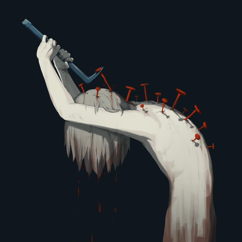 1boy avogado6 black_background bleeding blood cat's_paw_(tool) covered_face from_side grey_hair hair_over_face hands_up holding leaning_forward male_focus nail nude original simple_background solo stabbed white_skin