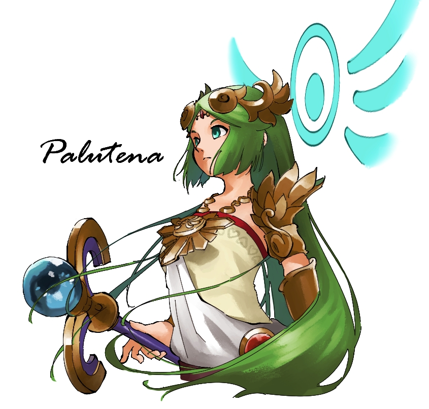 1girl armlet bangs blue_eyes bracelet character_name circlet closed_mouth frown goddess green_hair holding holding_staff jewelry kid_icarus long_hair looking_away necklace nishikuromori palutena parted_bangs simple_background solo staff strapless very_long_hair white_background