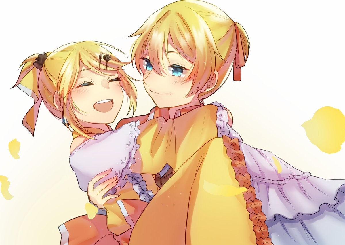 1boy 1girl allen_avadonia arms_around_neck aryuma772 blonde_hair blue_eyes bow brother_and_sister carrying choker closed_eyes dress evillious_nendaiki frilled_sleeves frills hair_bow hair_ornament hair_ribbon hairclip happy kagamine_len kagamine_rin open_mouth petals princess_carry ribbon riliane_lucifen_d'autriche siblings smile twins vocaloid yellow_dress