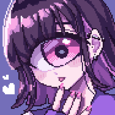 1girl blush commentary_request cyclops dutch_angle ear_piercing heart limited_palette looking_at_viewer lowres mntimccz nail_polish one-eyed open_mouth original piercing pink_eyes pink_nails pixel_art portrait purple_background purple_theme sidelocks simple_background solo violet_eyes