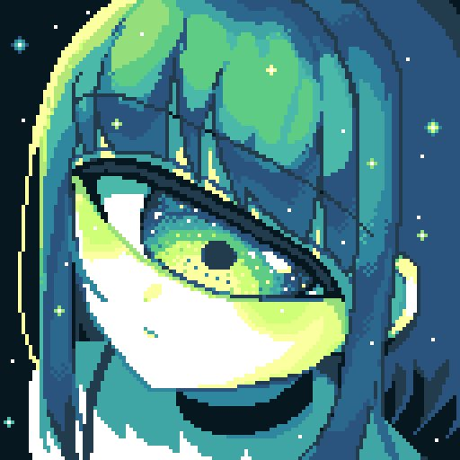1girl bangs black_background black_choker blunt_bangs choker collarbone commentary_request cyclops expressionless foreshortening green_eyes green_hair green_theme limited_palette looking_at_viewer mntimccz one-eyed original pixel_art portrait sidelocks simple_background solo sparkle upper_body