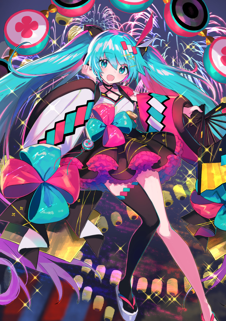 1girl aqua_eyes aqua_hair asymmetrical_legwear bangs black_legwear blunt_bangs bow choker commentary criss-cross_halter drum fan fireworks folding_fan full_body hair_ornament hairclip halterneck hatsune_miku hatsune_miku_graphy_collection hayama_eishi headphones headset holding holding_fan instrument japanese_clothes kimono lantern long_hair looking_at_viewer mismatched_sleeves night open_mouth pink_sleeves single_thighhigh smile solo sparkle speaker thigh-highs twintails very_long_hair vocaloid white_sleeves wide_sleeves yukata zouri