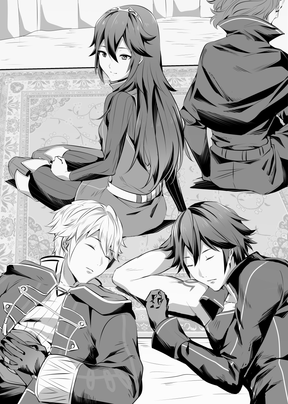 1girl 3boys ameno_(a_meno0) bare_arms chrom_(fire_emblem) fire_emblem fire_emblem_awakening gloves hair_between_eyes highres long_hair lucina_(fire_emblem) lying monochrome multiple_boys on_back robin_(fire_emblem) robin_(fire_emblem)_(male) sitting sleeping smile symbol-shaped_pupils tiara