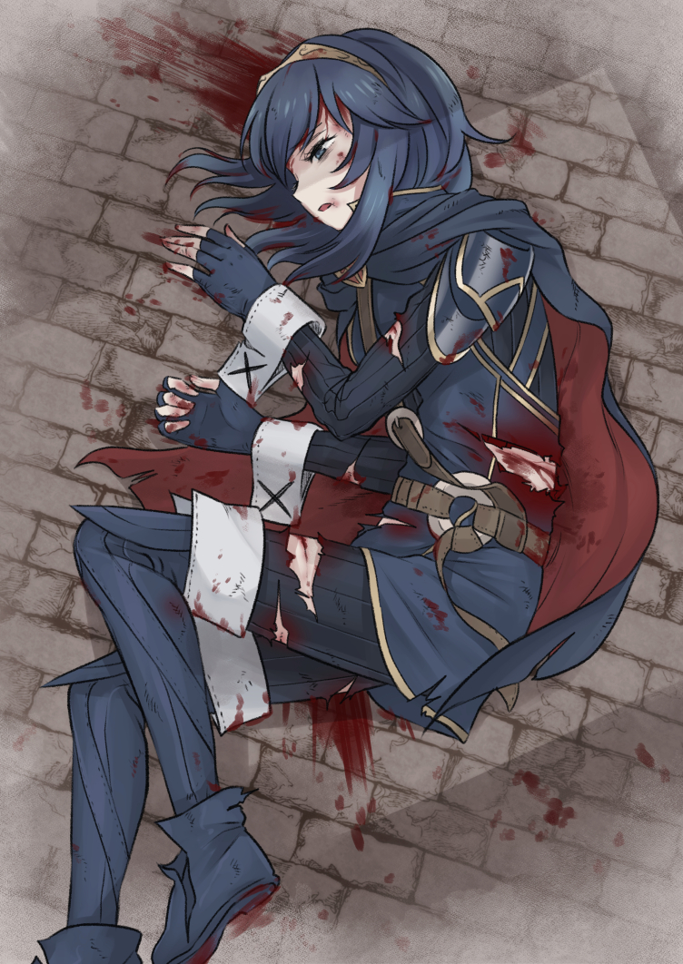 1girl blood blood_on_face bloody_clothes blue_eyes blue_hair cape defeat fingerless_gloves fire_emblem fire_emblem_awakening gloves lucina_(fire_emblem) lying meis_(terameisu) on_ground on_side open_mouth scar solo tiara torn_clothes