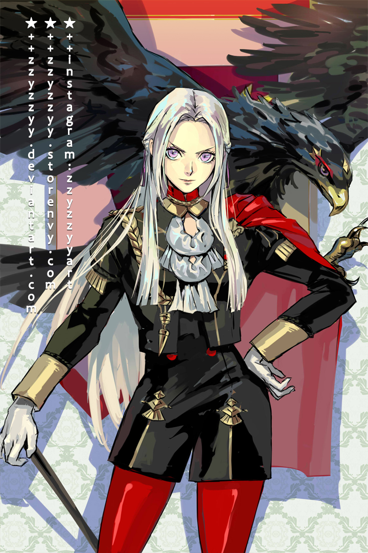 1girl aiguillette animal beak bird black_dress black_jacket cape commentary_request cowboy_shot cravat deviantart_username dress eagle edelgard_von_hresvelg fire_emblem fire_emblem:_three_houses forehead garreg_mach_monastery_uniform gloves hair_ribbon hand_on_hip holding instagram_username jacket lips long_hair long_sleeves looking_at_viewer pantyhose purple_ribbon red_cape red_legwear ribbon shadow short_dress silver_hair solo standing star_(symbol) talons very_long_hair violet_eyes watermark web_address white_gloves wings zzyzzyy