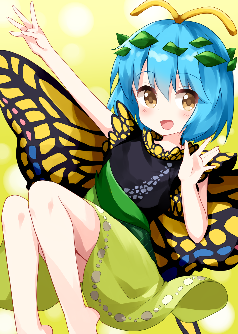 1girl antennae bangs barefoot black_dress blue_hair butterfly_wings dress eternity_larva eyebrows_visible_through_hair green_dress green_skirt highres leaf leaf_on_head looking_at_viewer multicolored multicolored_clothes multicolored_dress open_mouth ruu_(tksymkw) short_hair simple_background skirt sleeveless sleeveless_dress smile solo touhou two-tone_dress wings yellow_background yellow_eyes yellow_wings