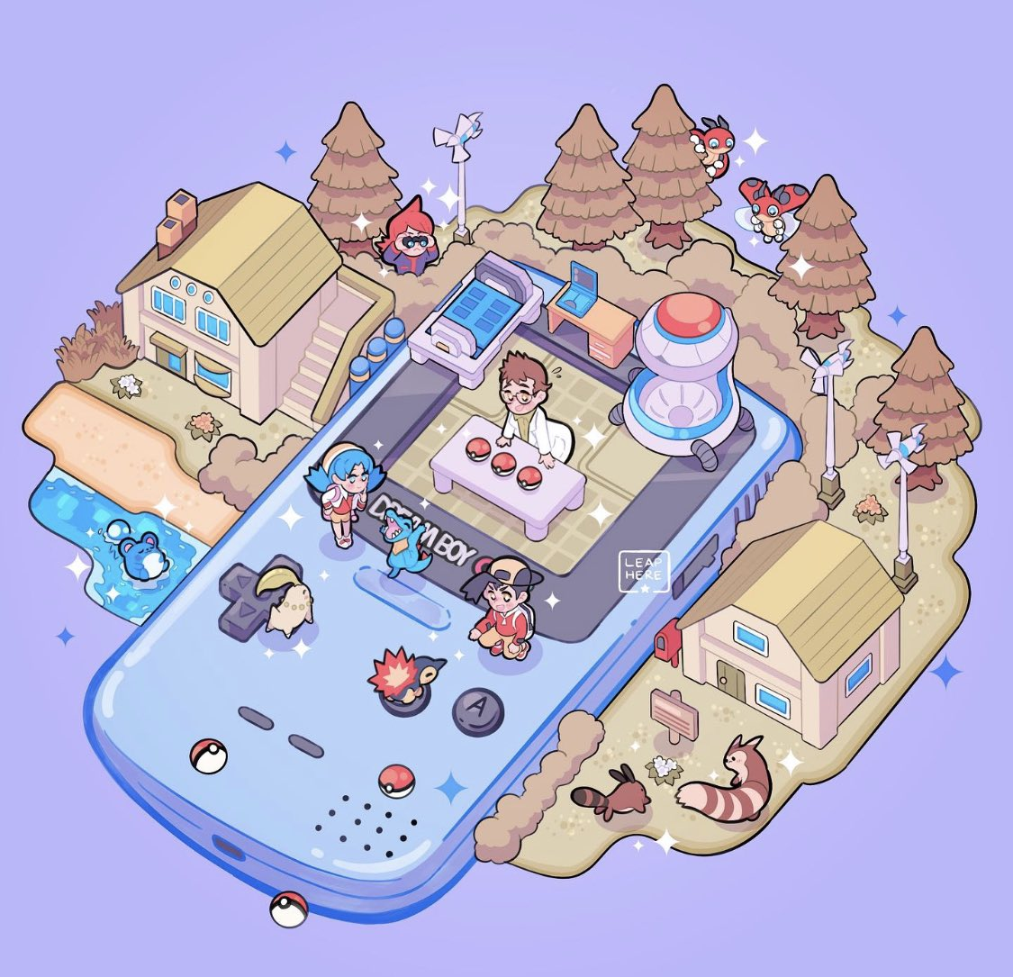 1girl 3boys backpack backwards_hat bag baseball_cap black_hair blue_eyes blue_hair blush building chikorita commentary cyndaquil desk door elm_(pokemon) ethan_(pokemon) furret game_boy_color gen_2_pokemon grass handheld_game_console hat kris_(pokemon) labcoat ledyba marill multiple_boys open_mouth poke_ball poke_ball_(basic) pokemon pokemon_(creature) pokemon_(game) pokemon_gsc sentret shoes silver_(pokemon) smile sneakers sparkle squatting standing starter_pokemon_trio table totodile tree window yamato-leaphere