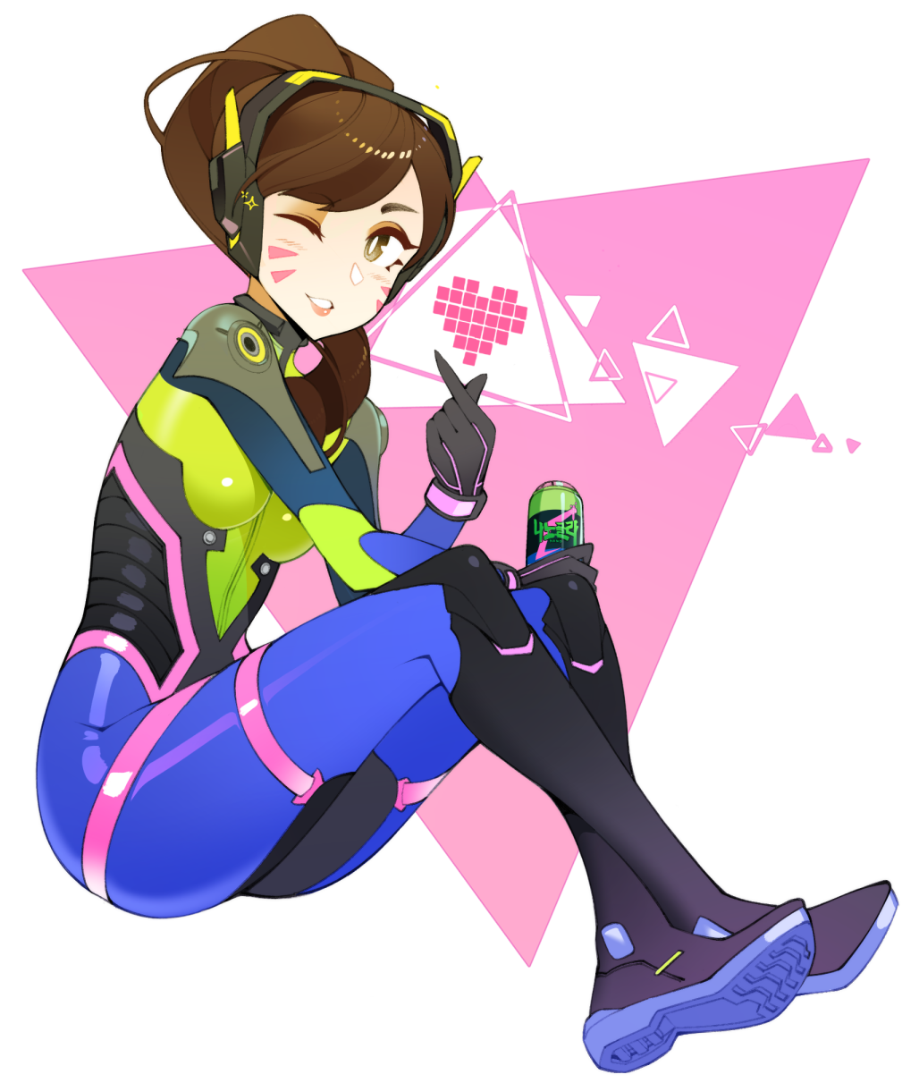 1girl bodysuit brown_eyes brown_hair commentary crossed_legs d.va_(overwatch) english_commentary from_side full_body gloves grey_gloves hair_over_shoulder halphelt hand_up highres holding long_hair looking_at_viewer looking_to_the_side multicolored multicolored_bodysuit multicolored_clothes overwatch parted_lips smile solo whisker_markings