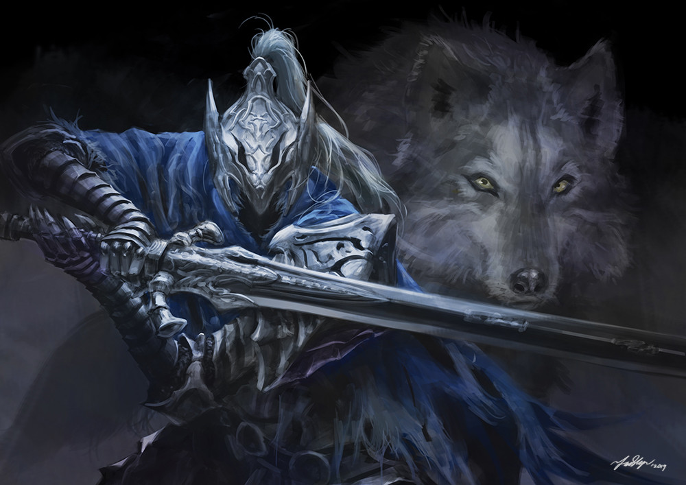 1boy animal armor artorias_the_abysswalker black_background blue_cape cape dark_souls english_commentary faceless faceless_male facing_viewer fadly_romdhani fighting_stance gauntlets great_grey_wolf_sif greatsword helmet holding holding_sword holding_weapon knight looking_at_viewer male_focus pauldrons plume shoulder_armor signature souls_(from_software) sword upper_body weapon wolf