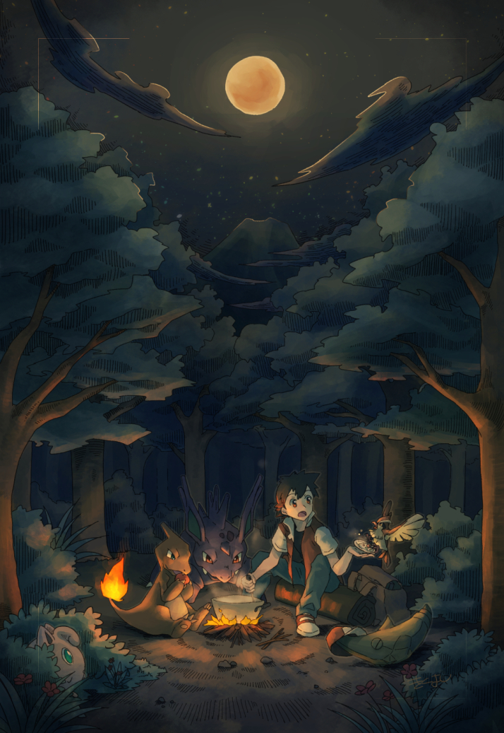 1boy bangs bush campfire charmeleon commentary_request eating fire forest gen_1_pokemon holding jacket jigglypuff kikuyoshi_(tracco) male_focus metapod moon nature nidorino night open_mouth outdoors pants pidgey pokemon pokemon_(game) pokemon_rgby pot red_(pokemon) shoes short_sleeves sitting tree