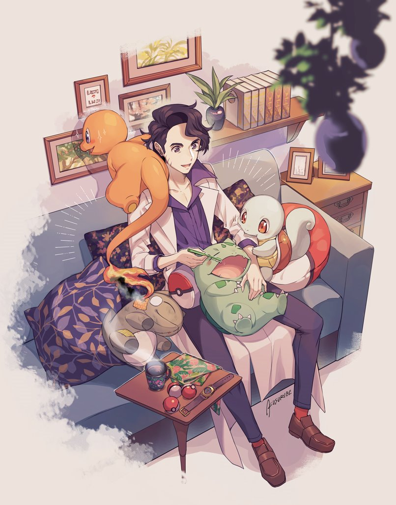 1boy augustine_sycamore black_hair black_pants book brown_footwear brushing_teeth bulbasaur charmander collared_shirt commentary_request couch cup cushion facial_hair fire flame gen_1_pokemon holding holding_toothbrush indoors kusuribe labcoat male_focus mug nibbling open_mouth pants photo_(object) plant poke_ball poke_ball_(basic) pokemon pokemon_(creature) pokemon_(game) pokemon_xy potted_plant purple_shirt shirt shoes signature sitting smile socks sparkle squirtle starter_pokemon_trio steam toothbrush watch watch