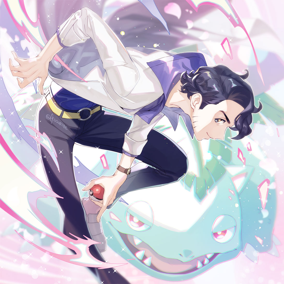 1boy augustine_sycamore black_hair black_pants closed_mouth collared_shirt commentary_request energy gen_1_pokemon grey_footwear holding holding_poke_ball kusuribe labcoat male_focus pants poke_ball poke_ball_(basic) pokemon pokemon_(game) pokemon_xy purple_shirt shiny shiny_hair shirt shoes signature sleeves_rolled_up smile sparkle venusaur watch watch yellow_belt