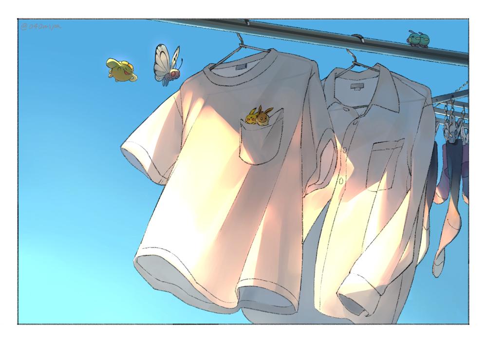 butterfree clothes clothes_hanger commentary_request eevee flying gen_1_pokemon gen_2_pokemon grey_legwear long_sleeves narumiya_(040miya) natu no_humans pikachu pokemon pokemon_(creature) shirt short_sleeves skiploom socks watermark white_shirt