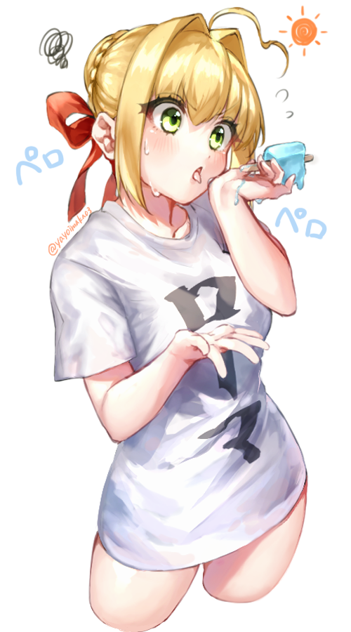 1girl ahoge alternate_costume blonde_hair breasts contrapposto cowboy_shot cropped_legs fate/extra fate_(series) food green_eyes hair_between_eyes hair_bun hair_intakes head_tilt licking looking_at_object medium_breasts nero_claudius_(fate) nero_claudius_(fate)_(all) no_pants open_hands palms popsicle shirt sidelocks signature solo squiggle sweatdrop t-shirt tongue tongue_out twitter_username white_shirt yayoi_maka