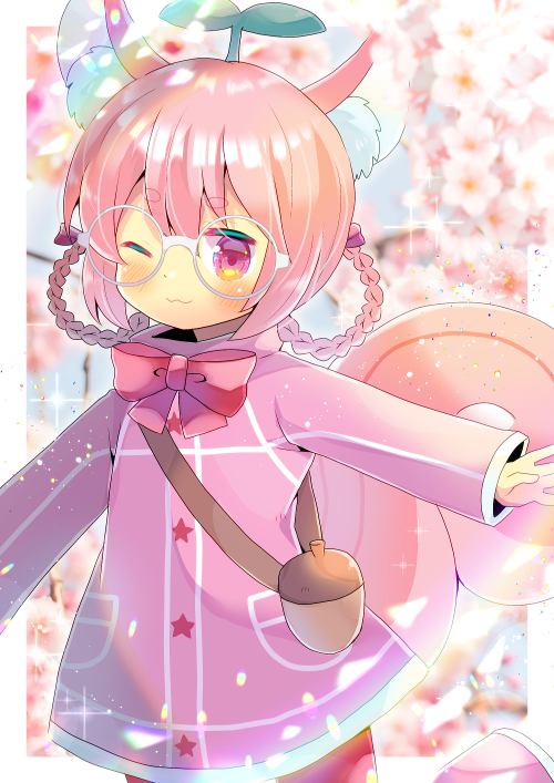 1girl ;3 animal_ear_fluff animal_ears bangs blurry blurry_background blush boots bow braid closed_mouth commentary_request depth_of_field dress eyebrows_visible_through_hair flower hair_between_eyes hair_bow hair_rings kouu_hiyoyo long_sleeves looking_at_viewer one_eye_closed original outstretched_arm pantyhose pink_dress pink_flower pink_footwear pink_hair red_bow red_legwear short_eyebrows solo squirrel_ears squirrel_tail tail thick_eyebrows twin_braids violet_eyes