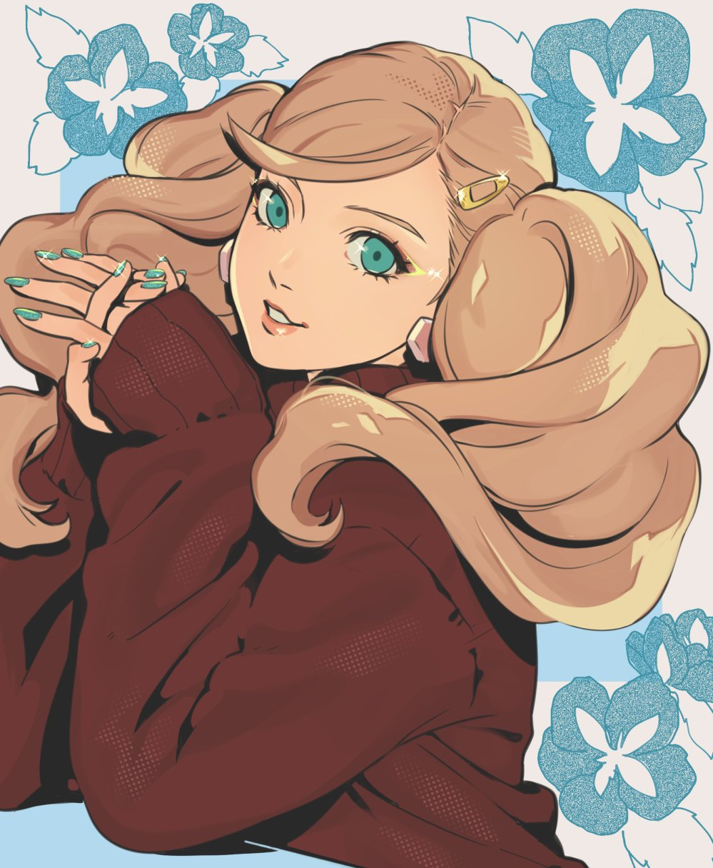 1girl aqua_eyes aqua_nails blonde_hair earrings flower hair_ornament hairclip hands_together head_tilt highres jewelry long_hair looking_at_viewer neekosiah persona persona_5 red_sweater sleeves_past_wrists solo sweater takamaki_anne twintails upper_body