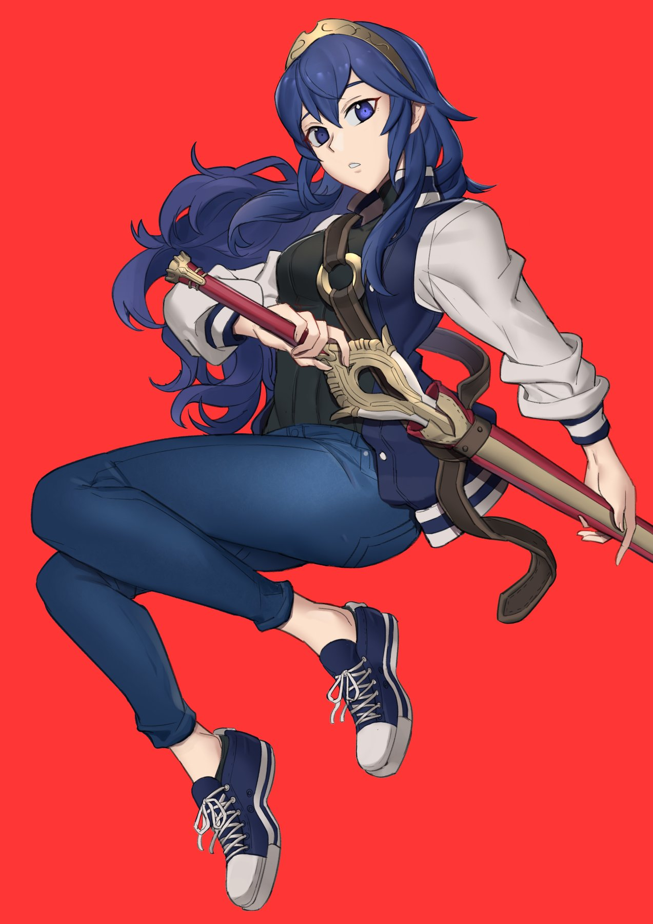 1girl alternate_costume blue_eyes blue_hair closed_mouth converse denim ebinku falchion_(fire_emblem) fire_emblem fire_emblem_awakening full_body highres holding holding_weapon jacket jeans long_hair looking_at_viewer lucina_(fire_emblem) pants teeth tiara weapon