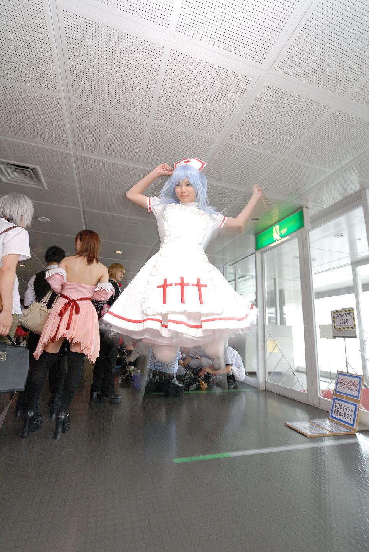 blue_hair cosplay jumping kouno_tooru kouzuki_suzuka nurse nurse_uniform photo princess_princess