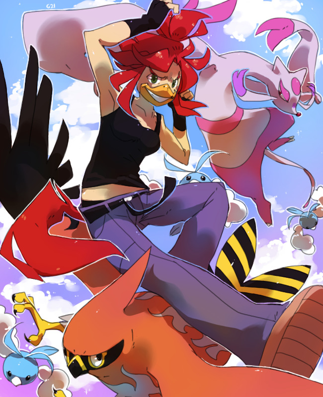 1girl belt bird bird_girl black_eyes black_gloves black_shirt blue_sky breasts claws clouds cloudy_sky collarbone commentary creature day english_commentary fingerless_gloves flying gen_3_pokemon gen_5_pokemon gen_6_pokemon gift_art gloves green_eyes grin jumping looking_at_another looking_at_viewer mienshao original outdoors pants pinkgermy pokemon pokemon_(creature) redhead riding riding_pokemon shirt shoes sky small_breasts smile swablu talonflame
