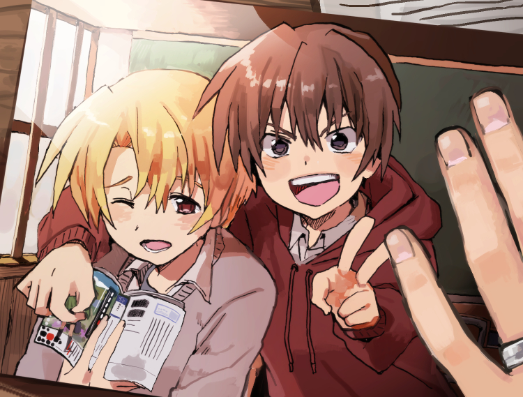 2boys :d blonde_hair book brown_hair classroom eyebrows_behind_hair grey_sweater hand_on_another's_shoulder higurashi_no_naku_koro_ni holding holding_book hood hood_down hoodie houjou_satoshi long_sleeves maebara_keiichi multiple_boys nuancho open_book open_mouth photo_(object) red_eyes red_hoodie short_hair smile sweater v violet_eyes