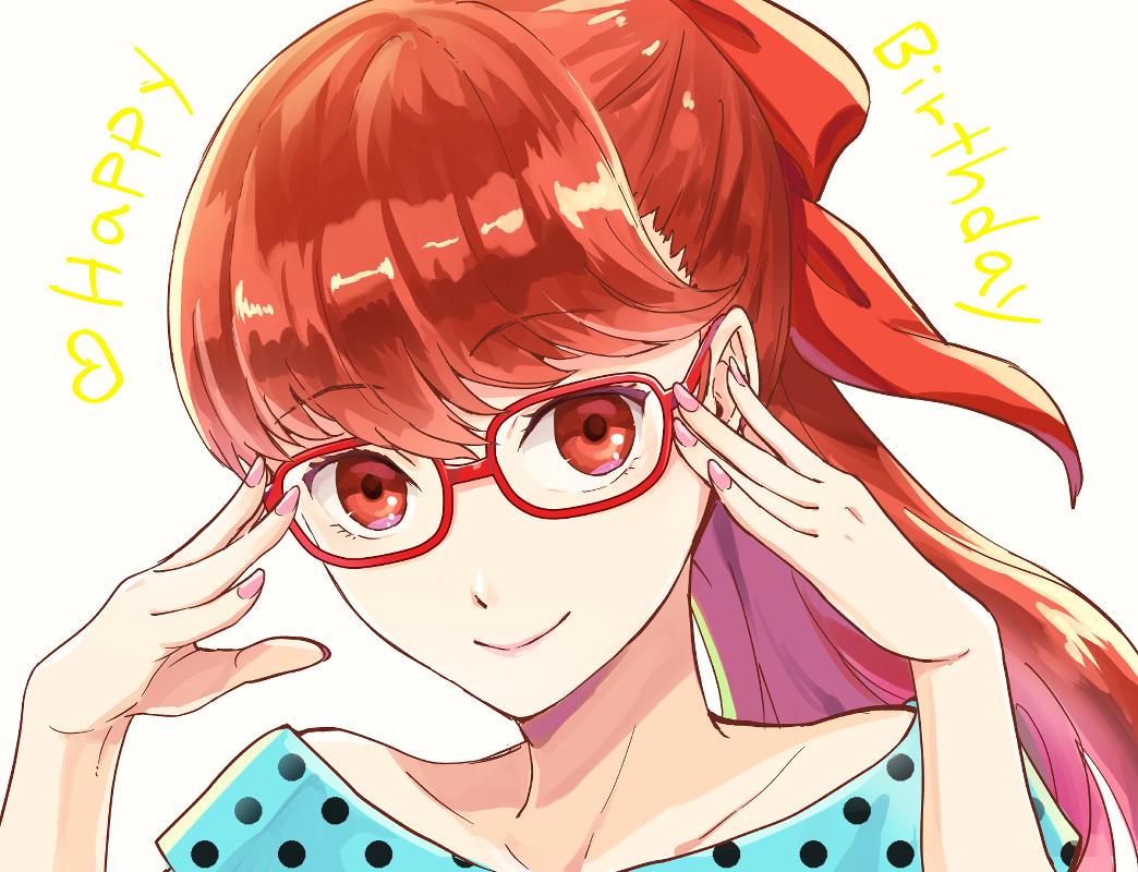 1girl adjusting_eyewear fujishiro_kei glasses looking_at_viewer nail persona persona_5 polka_dot ponytail red-framed_eyewear red_eyes redhead smile solo yoshizawa_kasumi